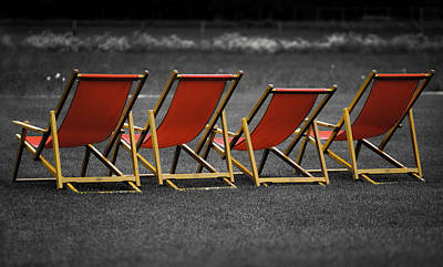 Red Deck Chairs Poster