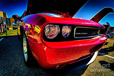 Red Dodge Challenger Vintage Muscle Car Poster