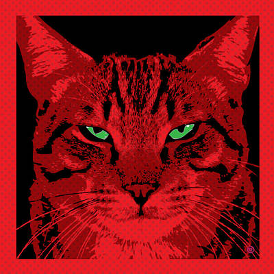 Red Dot Cat Poster by Gary Grayson