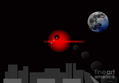 Red Dot City Moon No. 5. 2014 Poster by Cathy Peterson
