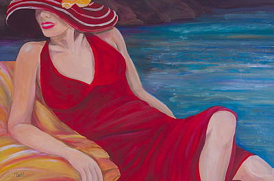 Red Dress Reclining Poster by Debi Starr