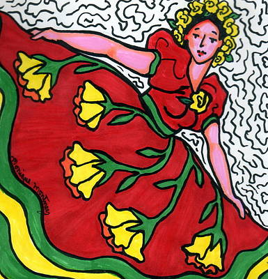 Red Dress With Yellow Roses Poster by Monique Montney