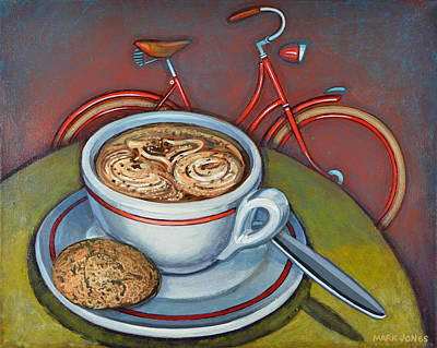 Poster featuring the painting Red Dutch Bicycle With Cappuccino And Amaretti by Mark Howard Jones