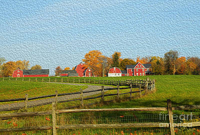 Red Farm House And Barns Poster