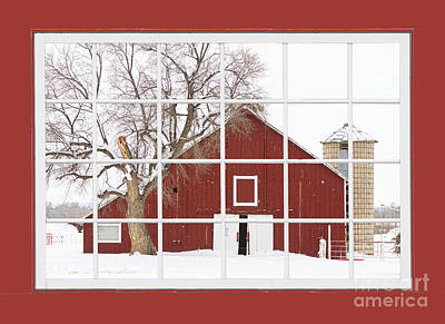 Red Farm House Picture Window Red Barn View  Poster