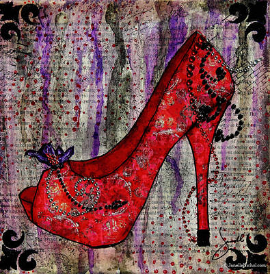 Red Fashion Shoe With Purple Flower  Poster by Janelle Nichol