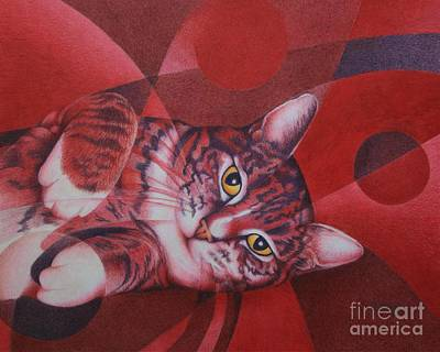 Poster featuring the painting Red Feline Geometry by Pamela Clements