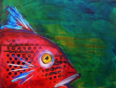 Red Fish Poster by Nancy Merkle