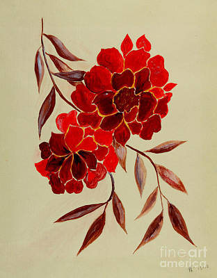Red Flowers - Painting Poster by Veronica Rickard