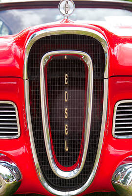 Poster featuring the photograph Red Ford Edsel Grill Detail by Mick Flynn