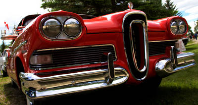 Red Ford Edsel Poster by Mick Flynn