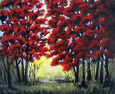 Red Forest Poster by Suzanne Theis