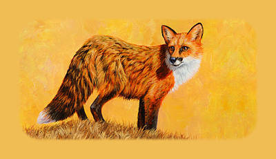 Red Fox Painting Iphone Case Poster