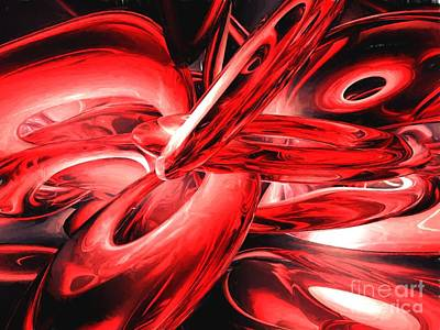 Red Gamma Radiation Painted Abstract Poster by Alexander Butler