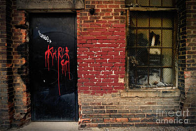 Red Graffiti On Door Poster