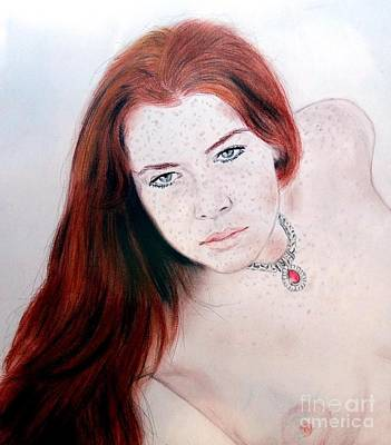 Red Hair And Freckled Beauty Remake Nude Poster by Jim Fitzpatrick