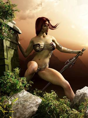 Red Haired Barbarian Woman Poster