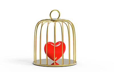 Red Heart Inside A Bird Cage Poster by Wladimir Bulgar