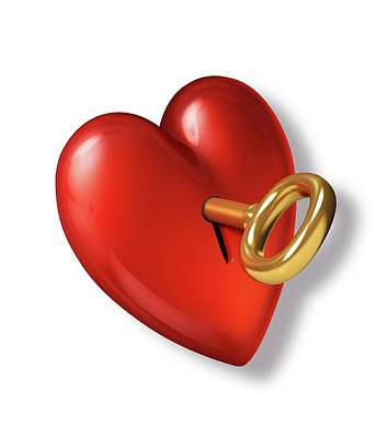 Red Heart Shape With A Gold Key Poster by Leonello Calvetti
