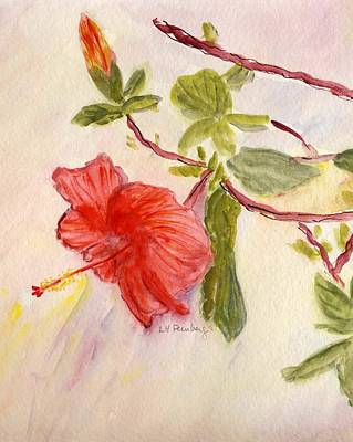 Poster featuring the painting Red Hibiscus by Linda Feinberg