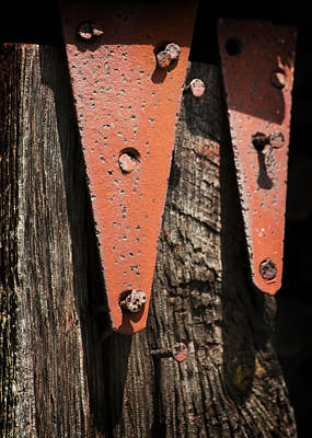 Red Hinges On Weathered Wood Poster