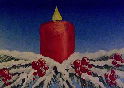 Poster featuring the painting Red Holiday Candle by Darren Robinson