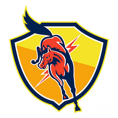 Red Horse Jump Lightning Bolt Shield Retro Poster