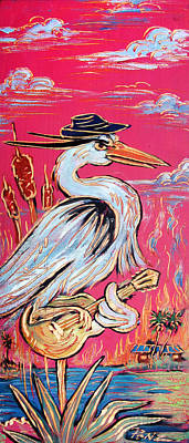 Red Hot Heron Blues Poster by Robert Ponzio