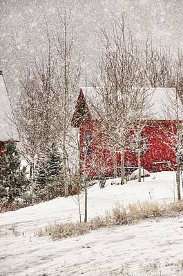 Red House In A Snowstorm Poster by Janis Knight