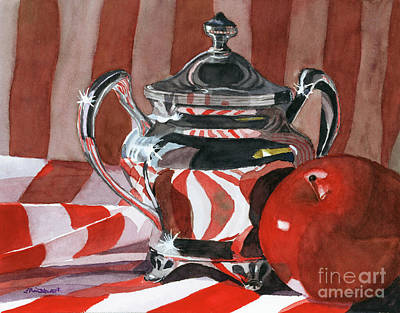 Red In Silver Poster by Lynne Reichhart