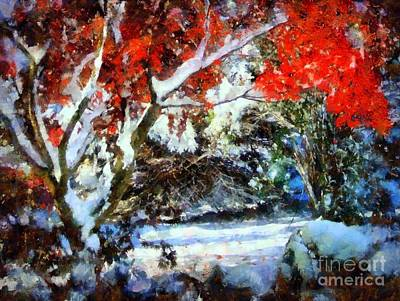 Red Japanese Maple In Snow Poster by Janine Riley