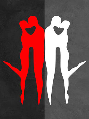 Red Kiss And Reflection  Poster by Naxart Studio