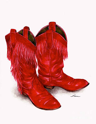 Red Leather Fringed Cowboy Boots Poster