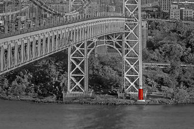 Red Lighthouse And Great Gray Bridge Bw Poster