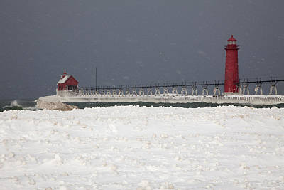 Red Lighthouses - Winter - Stormy Weather Poster by John Stephens