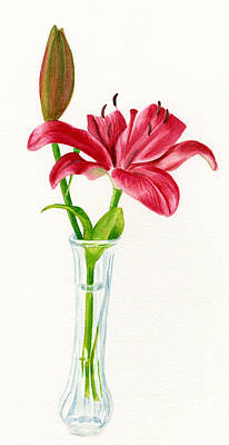 Red Lily In A Vase Poster
