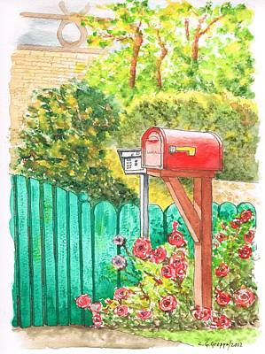 Red Mail Box In Beverly Hills - California Poster by Carlos G Groppa