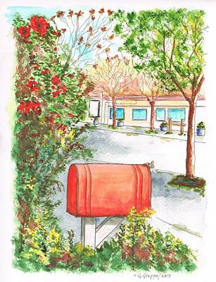 Red Mail Box In Calabazas - California Poster by Carlos G Groppa