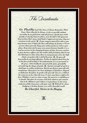 Red Matted Venetian Desiderata Poster Poster by Desiderata Gallery