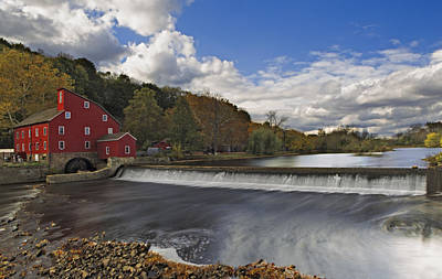 Red Mill At Clinton New Jersey Poster by Susan Candelario