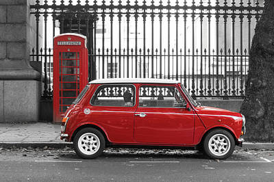 Red Mini Cooper In London Poster