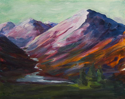 Poster featuring the painting Red Mountain Surreal Mountain Lanscape by Yulia Kazansky