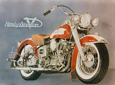 Harley Davidson Red Pan Head  Poster by Mark Zelenkovich