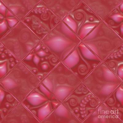 Red Patterned Flower Abstract Poster by Liane Wright