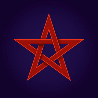 Red Pentagram On Blue Background Poster by Peter Hermes Furian