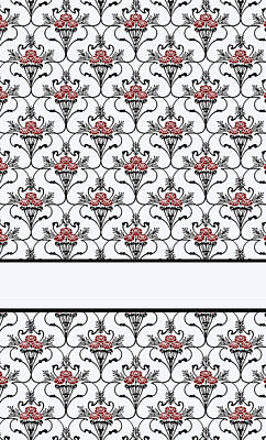 Red Peony Damask Poster