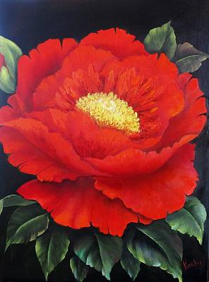 Red Peony Poster by Katia Aho