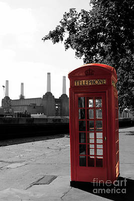 Battersea Power Station And The Red Phone Box Poster by Philip Pound