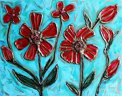 Red Pinwheel Flowers Poster