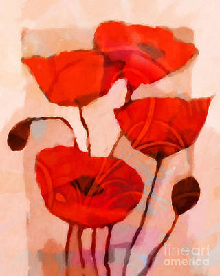 Red Poppies Art Poster by Lutz Baar